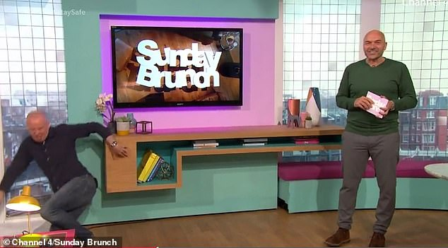'I'm Tim Lovejoy, yay!': Last year, Sunday Brunch's long-term presenter Tim Lovejoy, 53, went viral when he fell over and crashed to the ground live on TV