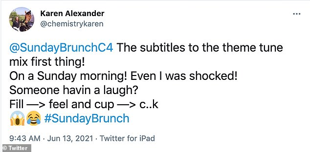 'On a Sunday morning!' The rude awakening was spotted by eagle eyed viewers who quickly took to social media to share the hilarious blunder accompanied by guest Scott Mills' face