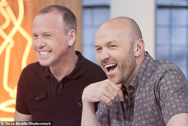 Oops! Sunday Brunch fans were left laughing this morning when a subtitles gaff put an X-Rated spin on the show's theme song (pictured: presenters Tim Lovejoy and Simon Rimmer)