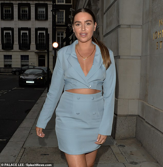 Beautiful: The reality star enjoyed dinner and drinks with friends at the swanky eatery in London