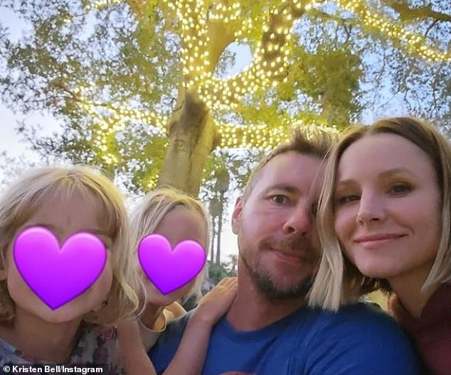 June 5 family portrait:On the personal front, Bell has two daughters - Lincoln, 8; and Delta, 6 - from her seven-year marriage to Bless This Mess actor Dax Shepard (2-R)