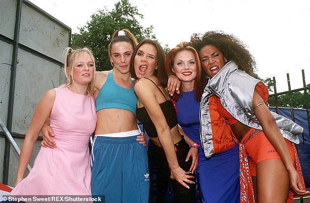 All five! As well as the vocals of Geri Horner, 48, Melanie Chisholm, 47, Emma Bunton, 45, and Melanie Brown, 46, the new song contains Victoria Beckham's vocals (Pictured in 1996)