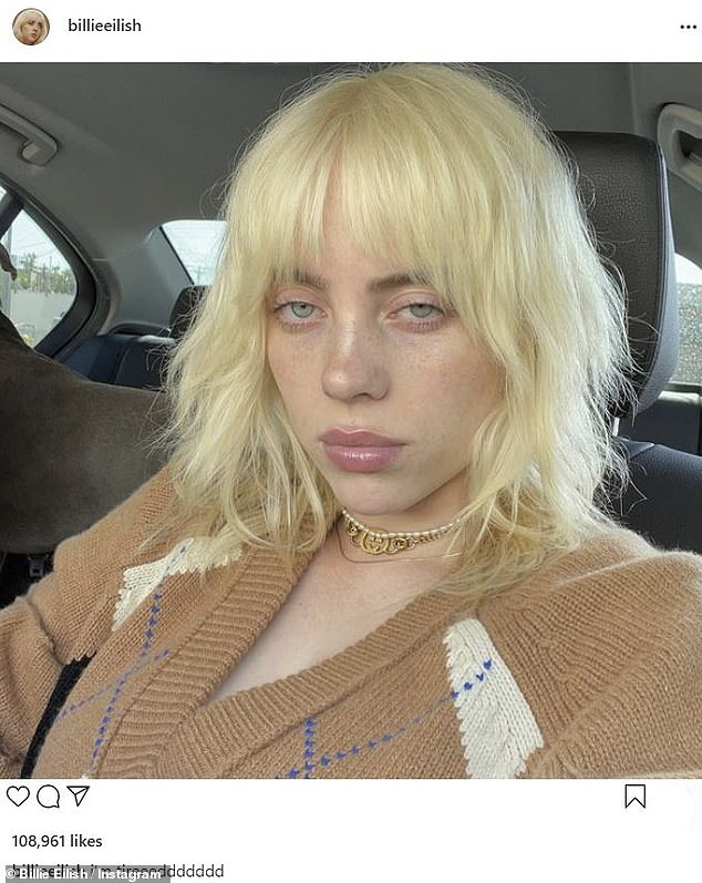 'Tired: Billie Eilish shared this selfie on Sunday amid accusations that she's been queerbaiting her fans