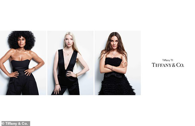 Le look:The luxury jewelry brand has announced the High Note actress, 48, Golden Globe-winner, 25, and model and skier, 17, as their newest global ambassadors. The trio were photographed by Mario Sorrenti for Tiffany's brand new T1 jewelry collection, Give Me the T