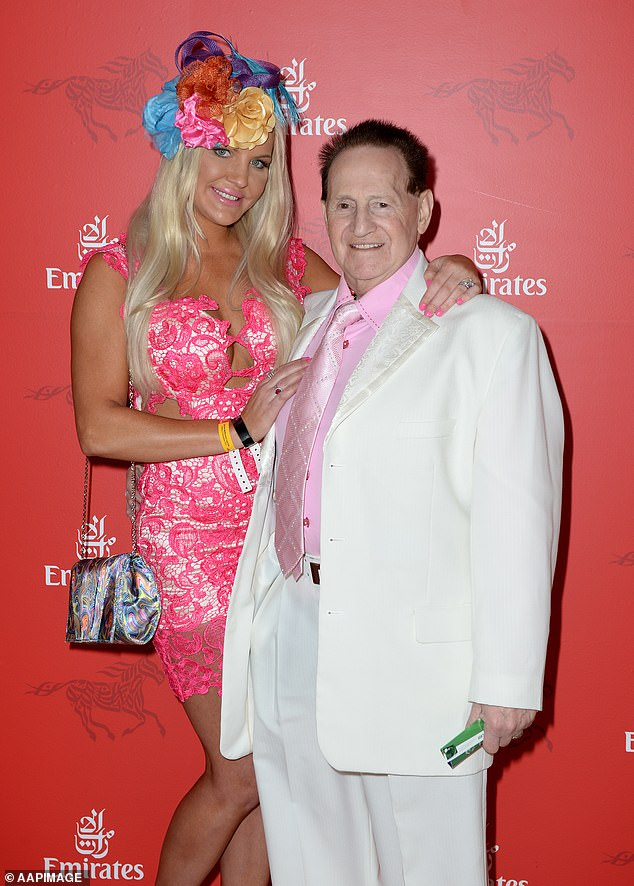 Marriage: Brynne, a fitness instructor from California, met Geoffrey, 40 years her senior, in October 2008. The then-couple wed in a lavish ceremony at The Crown in Melbourne in 2009, that reportedly cost $3million. He was 66 and she was 26. Pictured in 2013