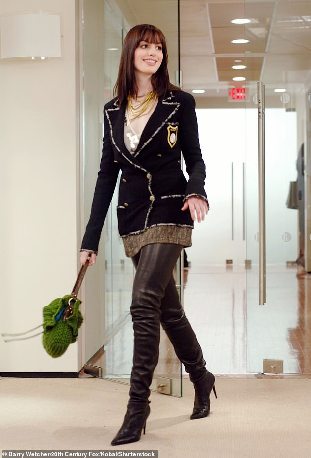 Ninth choice: Even as Anne Hathaway tirelessly pursued being cast the leading lady, Frankel, 62, recalled McAdams, who had just starred in Mean Girls and The Notebook, passed on the part three times (pictured asAndy Sachs in The Devil Wears Prada)
