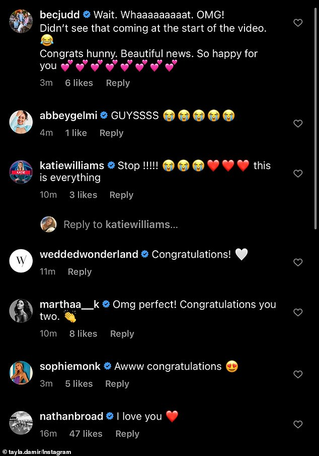 Congratulations: The couple received a number of wishes from famous fans and friends, including Rebecca Judd, who commented: