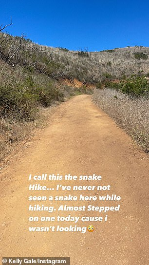 """Gale wrote via Instastory, """"I call it the snake hike.  Never saw a snake here on a hike.  I almost stepped on it today because I wasn't looking! '"""