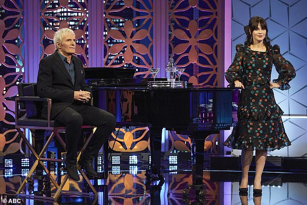 Team up: Zooey was the show's host and chief matchmaker, while singer Michael sat down at a piano and sang clues to help the contestant guess the mysterious celebrity