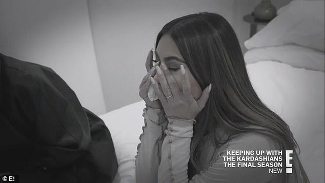 Getting emotional: Kim was shown crying in the penultimate episode of KUWTK after a
