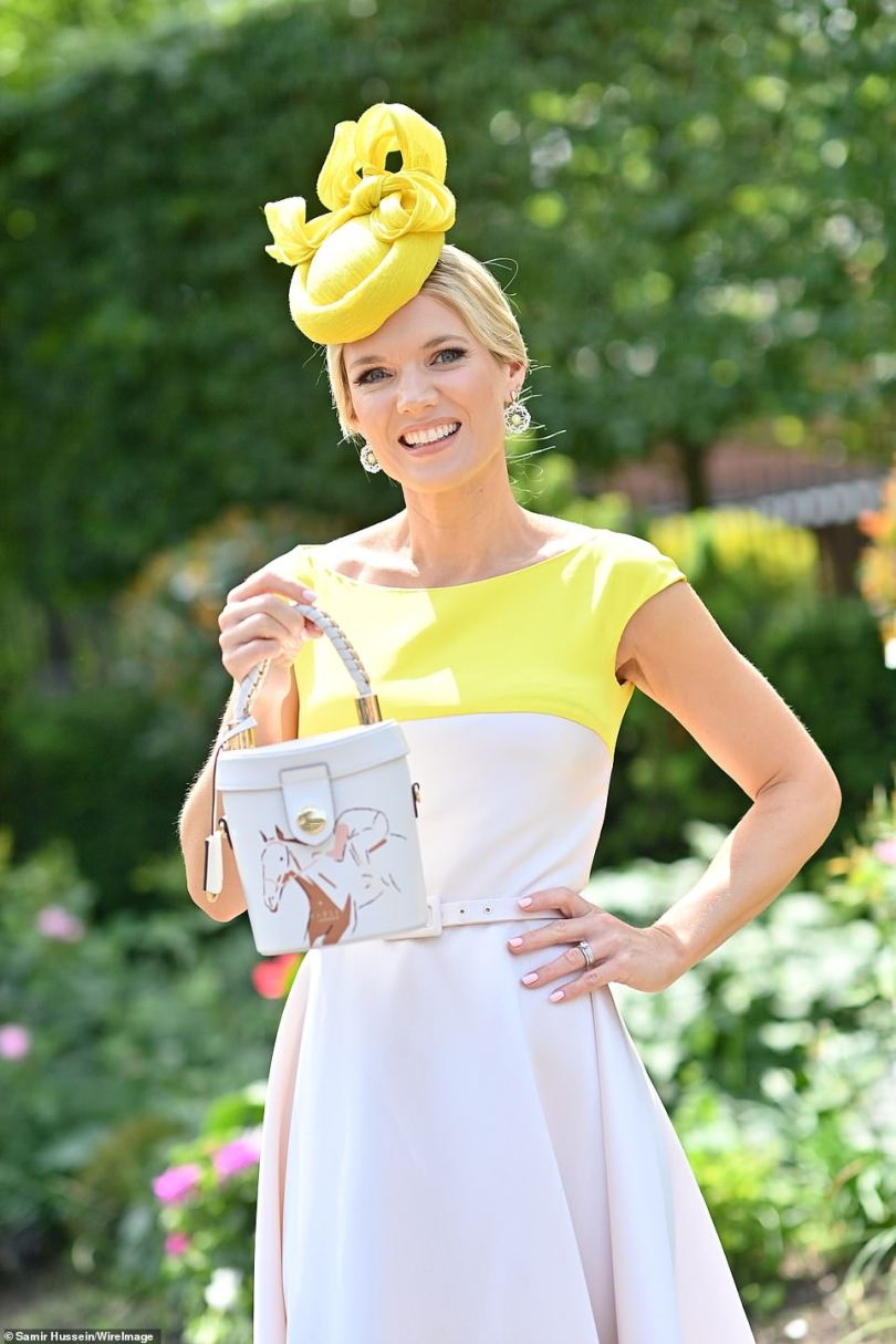 Radiant: Charlotte looked incredible in the elegant dress as she showed off her nude bag with an apt horse design