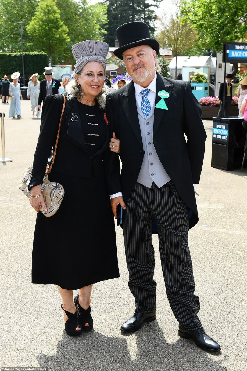 Couple: Bill attended the event with his wife Kristin Bailey who looked chic in a black dress