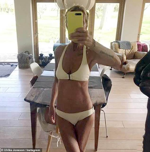 Cheeky snaps: While she's no stranger to undressing in the sun, Ulrika's latest post came for a good cause, raising awareness about men's mental health