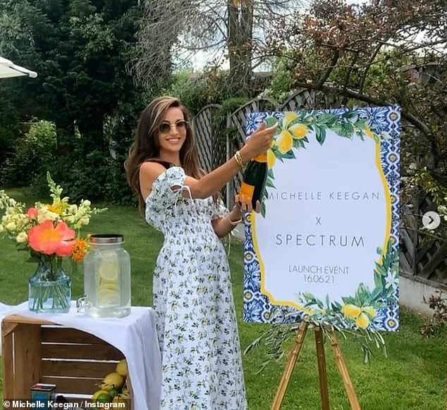 Occasion: Michelle Keegan popped a bottle of champagne and shared a rare Instagram photo with her mom Jacqueline on Wednesday as she celebrated the launch of her beauty collaboration