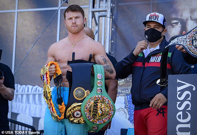 Houlihan is certainly not the first athlete to blame a failed drug test on tainted meat - boxer Saul 'Canelo' Alvarez (L) blamed his 2018 positive test for clenbuterol on tainted Mexican beef