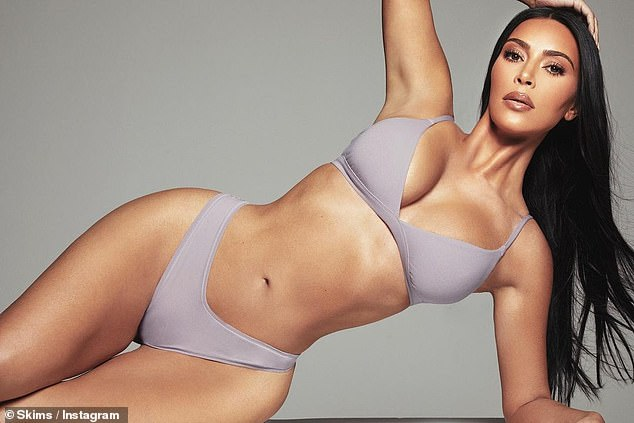 Tonic: Kim modeled her new collection of SKIMS underwear and underwear