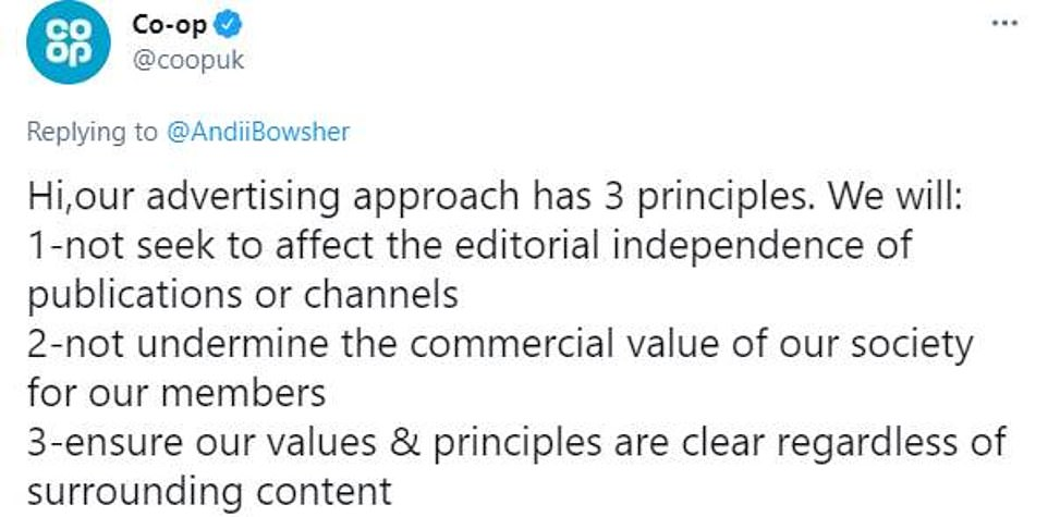 After being bombarded by activists demanding it suspend its TV campaigns on GB News, the Co-op responded on Twitter and said it would not be swayed