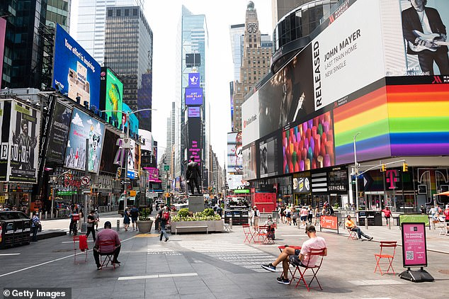 Canadians fear other Broadway shows and U.S. venues will follow suit. Pictured, Times Square is seen earlier this month