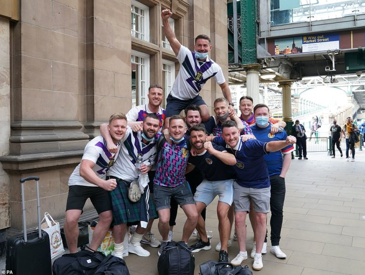 Scotland fans at Edinburgh Waverley railway station today as they prepare to travel to London ahead of the UEFA Euro 2020