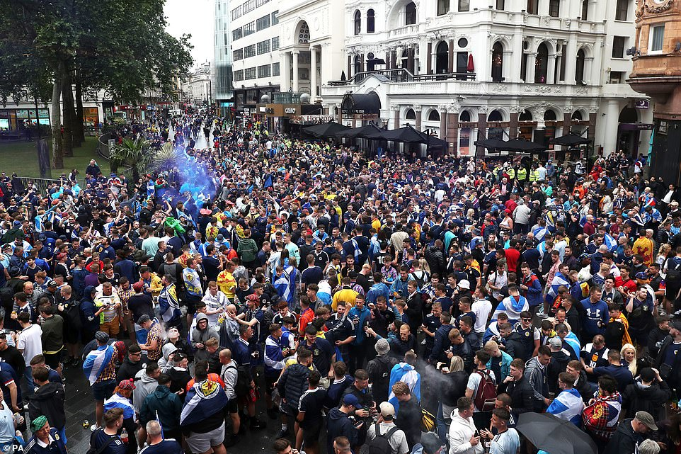 What social distancing? There was little room for space in Leicester Square as Scotland fans massed today ahead of the game