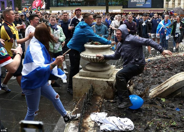There were clashes among the Tartan Army, many of whom had arrived on Thursday and had been drinking throughout the day