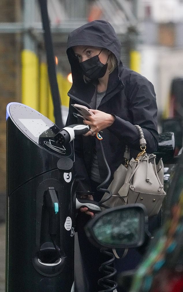 On the road: The presenter protected herself from the rain as she charged her electric Mercedes in west London