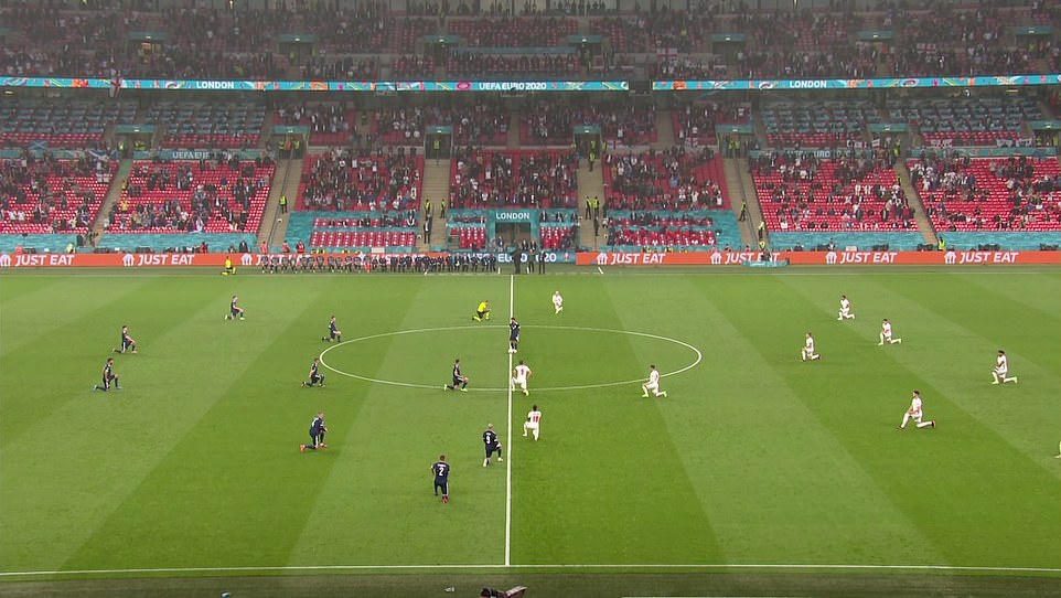England and Scotland players took a knee moments before kick-off in their Euro 2020 game
