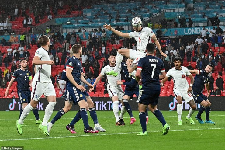 John Stones of England hits the post from a header during the UEFA Euro 2020 Championship Group D match between England and Scotland at Wembley Stadium