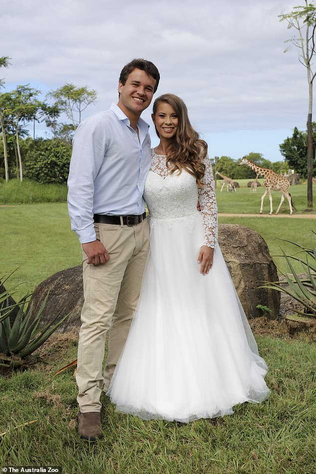 Just married! The young couple were married on March 25 in a makeshift ceremony at Australia Zoo, just before the Covid-19 lockdown took effect