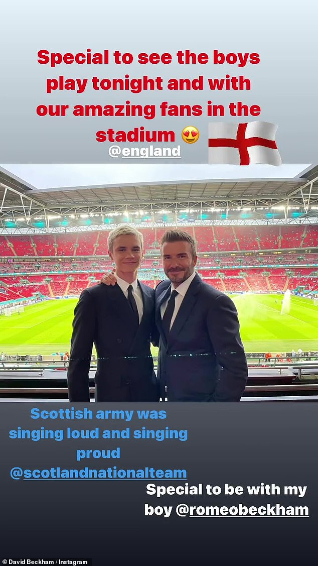 'Special to be with my boy': Earlier in the night, David also shared a picture of himself alongside his son Romeo at Wembley