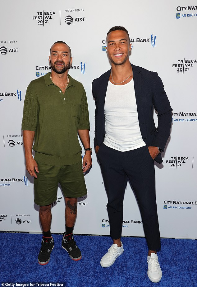 Buddies: Actor Jesse Williams was also in attendance, along with professional footballer and Bachelorette star Dale Moss
