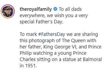 The Royal Family shared a touching tribute to the late Duke of Edinburgh to mark their first Father's Day without him