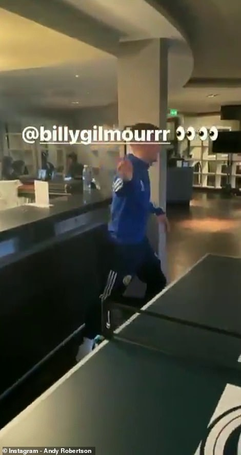 A video, which has since been deleted, emerged of Gilmour playing ping pong in the Scotland team hotel