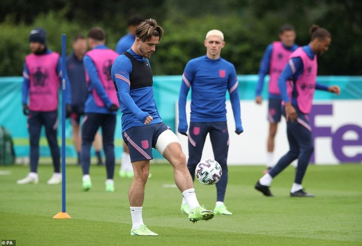 England's Jack Grealish during a training session at Spurs Lodge in Chigwell this morning ahead of tomorrow's match