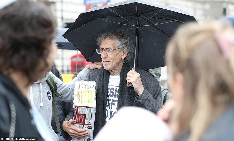 Activist and anti-lockdown protestor Piers Corbyn is spotted at Downing Street in London for a demonstration