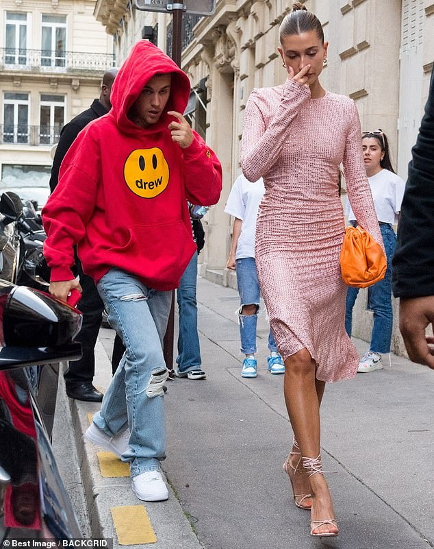 Dressing down: Later, Bieber donned a hoodie as he and his wife dined at Le Stresa restaurant in Paris