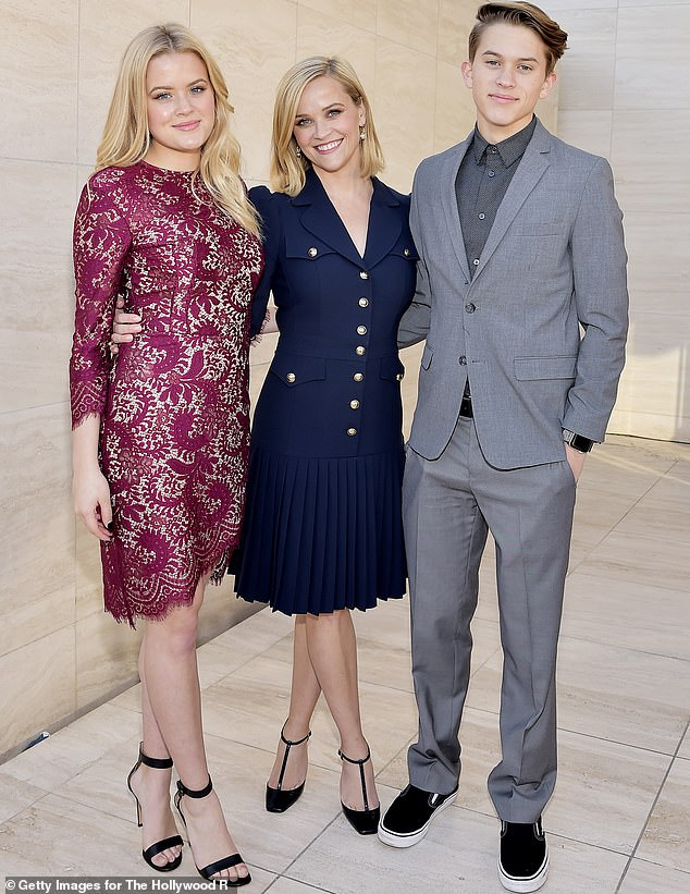 Trio:The Morning Show star also shared got emotional when she talked about how close she is with her three children. 'That makes me want to cry, the idea of having a long relationship with adult children,' Reese revealed to Tracee. She has Ava, 21, and Deacon, 17, with ex-husband Phillippe; Reese, Ava and Deacon are pictured in 2019