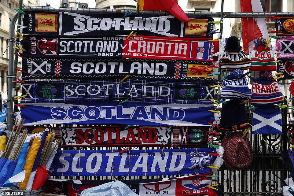 Merchandise for sale is seen in Glasgow ahead of the match tonight which will see Scotland take on Croatia