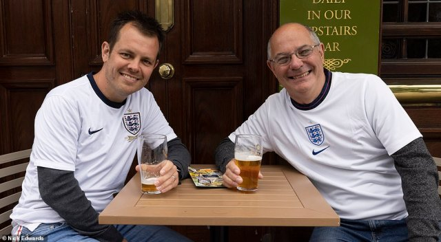 Three Lions fans have already been knocking back pints in pubs across the country ahead of the game at Wembley stadium tonight