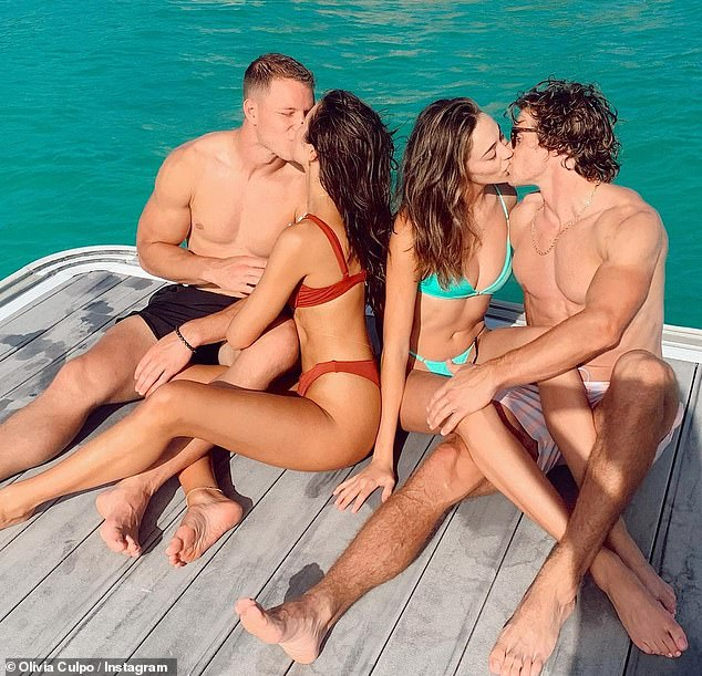 Just the four of us: Both Olivia Culpo, 29, and her sister Sophia, 24, are both dating football stars. The siblings were seen locking lips as they sat side by side. Olivia is with Christian McCaffrey of the Carolina Panthers while Sophia dates Braxton Berrios of the New York Jet