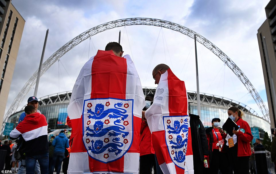 Fans draped in England flags also queued up outside Wembley tonight ahead of the Euro 2020 clash against Czech Republic tonight