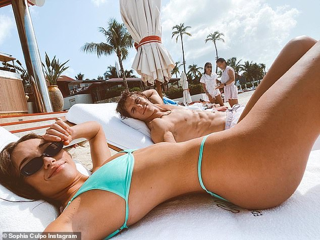 A good stretch:Sophia was stunning in a turquoise bikini that made the most of her very slender and toned frame