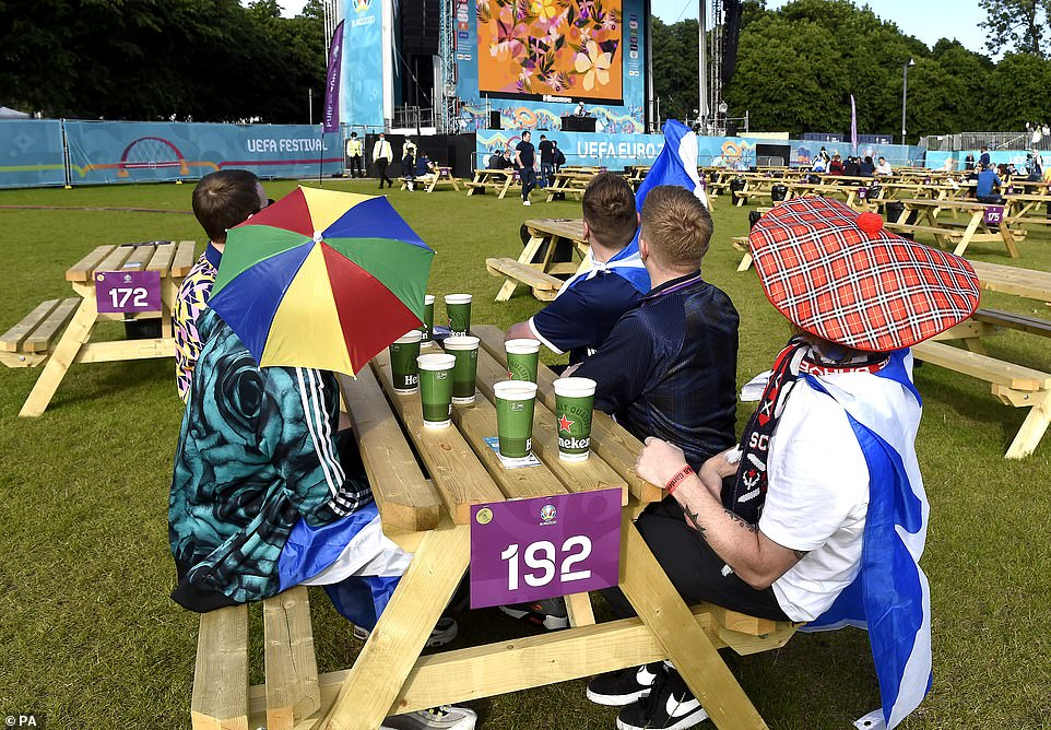 It's been a sunny day in Scotland and fans have been lapping up the good weather in Glasgow, where fans have arrived at the fan zone ahead of the match