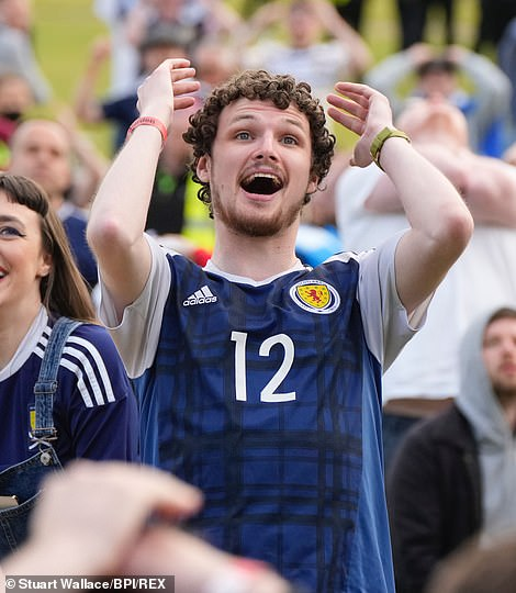 A Scotland fan with head-in-hands during their clash against Croatia at Hampden Park