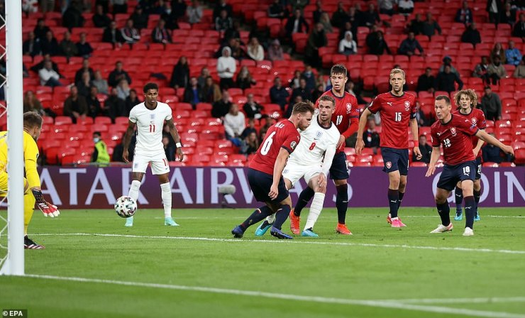 Jordan Henderson (No 8) did put the ball in the back of the net for England late on in the second half but it was chalked off