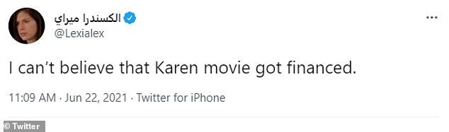 Can't believe:Filmmaker Lexi Alexander added, 'I can't believe that Karen movie got financed'