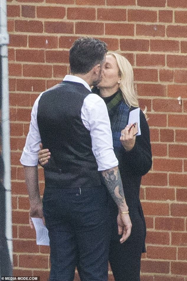 Chef's kiss! Jock Zonfrillo and his third wife Lauren Fried shared a steamy lip lock as he took a break from filming Celebrity MasterChef in Melbourne last week
