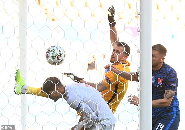 The goalkeeper slapped a high ball into his own net after Pablo Sarabia's shot came off the bar