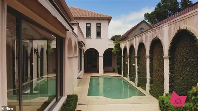 Their home: Bec and Chris transformed their Spanish colonial-style mansion in Melbourne's Brighton after buying it for $7.3million in March 2018. They replaced its dated aesthetic and apricot colour palette, and added modern touches like gold brass fittings, marble and steel doors (pictured before renovations)
