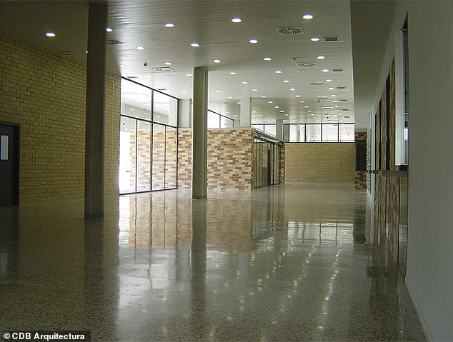 This is inside the hallways of the Brians 2 prison complex in Barcelona